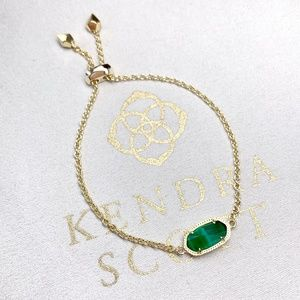 New Kendra Scott Elaina Gold Emerald Cats Eye